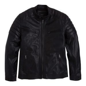 Блузон кожаный короткий на молнии в байкерском стиле PEPE JEANS. Цвет: черный