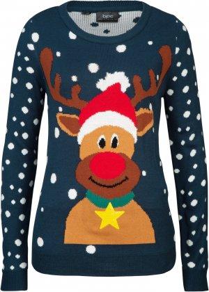 Пуловер с новогодним мотивом bonprix. Цвет: синий