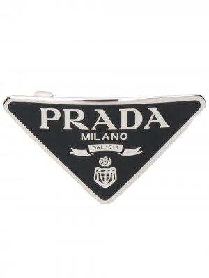 Заколка для волос с логотипом Prada. Цвет: черный