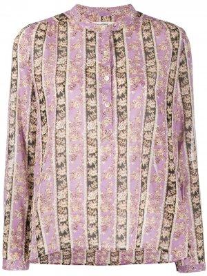 Кафтан в полоску с цветочным принтом Isabel Marant Étoile. Цвет: фиолетовый