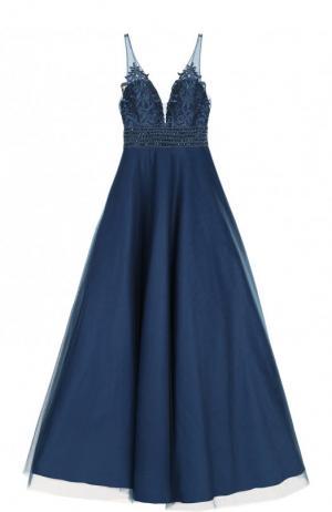 Приталенное платье-макси с пышной юбкой Basix Black Label. Цвет: синий