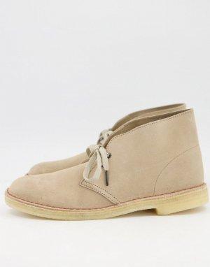 Замшевые ботинки-дезерты кленового бежевого цвета Clarks Orignals-Бежевый Originals