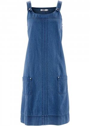 Джинсовое платье-сарафан стретч bonprix. Цвет: синий