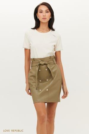 Двубортная юбка мини из экокожи с поясом LOVE REPUBLIC