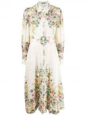 Платье-рубашка с рукавами колокол Zimmermann. Цвет: белый