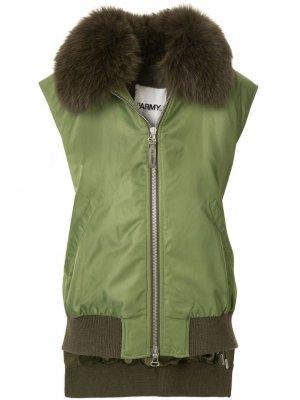 Куртка бомбер без рукавов с мехом лисы Yves Salomon Army