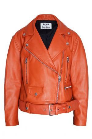Кожаная куртка Acne Studios. Цвет: коричневый