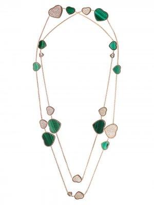 Золотое колье Happy Hearts с бриллиантами Chopard. Цвет: розовый