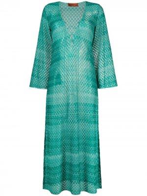 Пляжное платье с длинными рукавами и вышивкой Missoni. Цвет: зеленый