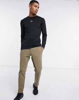 Черный базовый лонгслив с логотипом Calvin Klein Golf