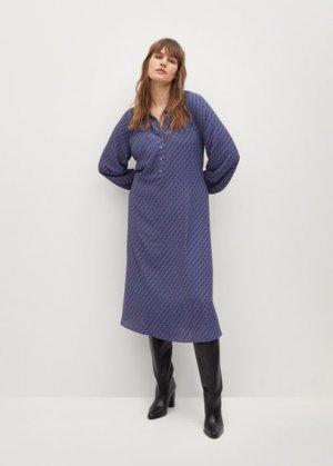 Миди-платье с геометрическим принтом - Metric Mango. Цвет: синий