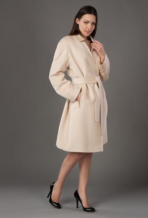 Кашемировое весеннее пальто трапеция средней длины с запахом Bella Bicchi. Цвет: слон_кость