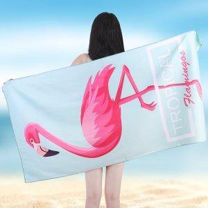 Многофункциональное полотенце с принтом фламинго SHEIN. Цвет: нежно-голубой