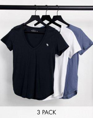 Набор из 3 футболок разных цветов с короткими рукавами, V-образным вырезом и логотипом -Многоцветный Abercrombie & Fitch