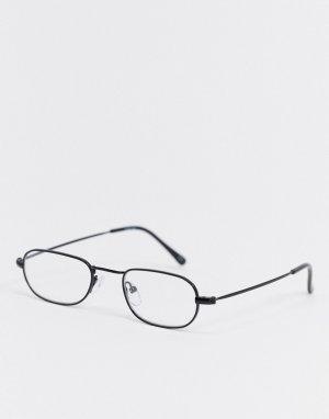 Прямоугольные очки в черной металлической оправе с прозрачными стеклами -Черный ASOS DESIGN