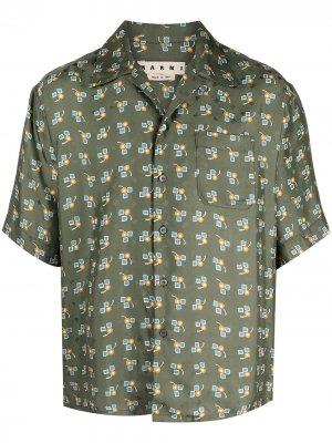 Рубашка с короткими рукавами и принтом Marni. Цвет: зеленый