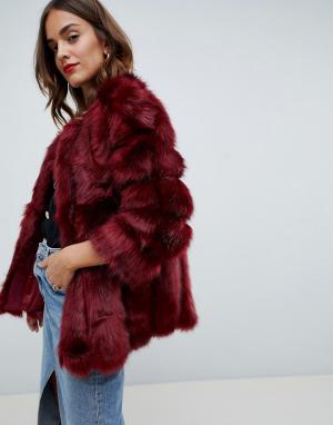 Меховая куртка с полосатой отделкой Luxurious-Красный Jayley