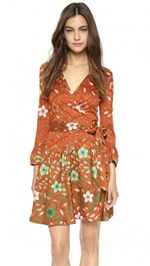 Комбинированное платье-халат Sylvia Diane von Furstenberg. Цвет: оранжевая маргаритка, эффект деграде