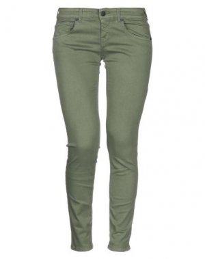 Джинсовые брюки UP ★ JEANS. Цвет: зеленый-милитари