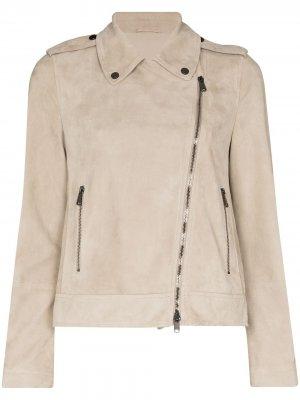 Байкерская куртка Brunello Cucinelli. Цвет: нейтральные цвета