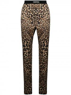 Пижамные брюки с леопардовым узором Tom Ford. Цвет: черный