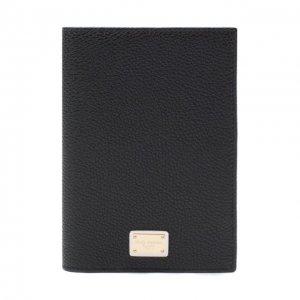 Кожаная обложка для паспорта Dolce & Gabbana. Цвет: чёрный