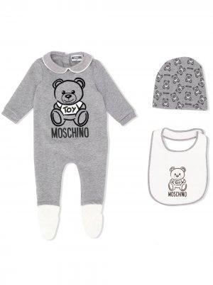 Комплект из комбинезона, нагрудника и шапки с логотипом Moschino Kids. Цвет: серый