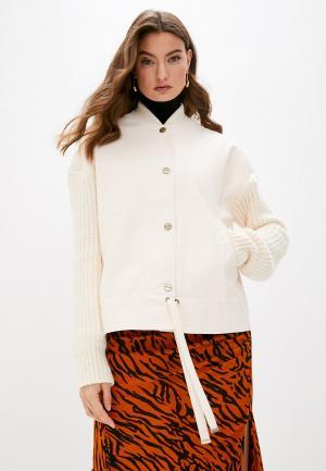 Куртка кожаная Twinset Milano MY TWIN. Цвет: бежевый