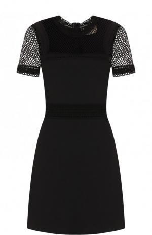 Приталенное мини-платье с коротким рукавом Elie Saab. Цвет: чёрный