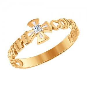 Кольцо из золота с эмалью фианитом SOKOLOV