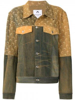 Джинсовая куртка с логотипом и эффектом потертости Marine Serre. Цвет: зеленый
