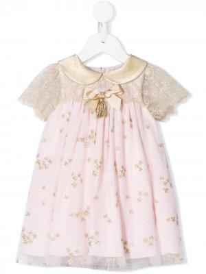 Расклешенное платье с вышивкой Lesy. Цвет: розовый