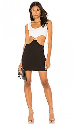 Мини платье-накидка KENDALL + KYLIE. Цвет: black & white