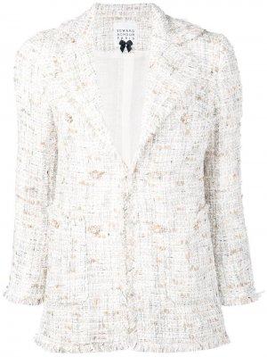Облегающий твидовый пиджак Edward Achour Paris. Цвет: белый