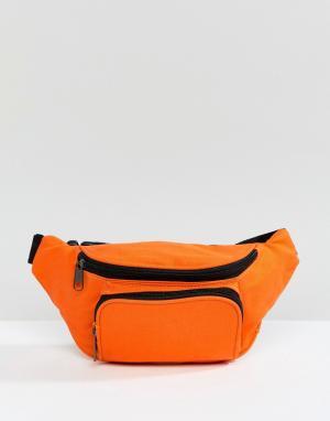 Сумка-кошелек на пояс с винтажным выбеленным эффектом 7X. Цвет: оранжевый
