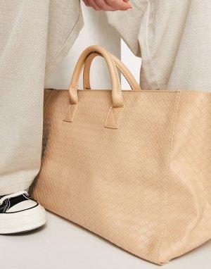 Большая бежевая плетеная сумка-тоут -Светло-бежевый Glamorous