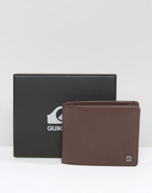 Коричневый кожаный бумажник Quicksilver Macking Quiksilver. Цвет: коричневый