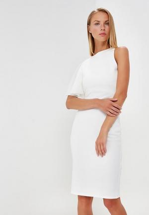 Платье LOST INK ONE SHOULDER FRILL BODYCON DRESS. Цвет: белый