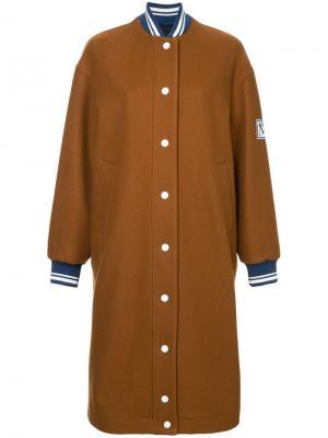 Удлиненная куртка-бомбер MSGM. Цвет: коричневый