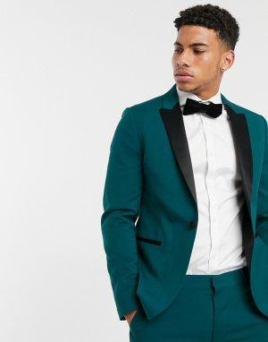 Зеленый приталенный пиджак-смокинг -Зеленый цвет ASOS DESIGN