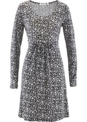 Платье с длинным рукавом (черный/белый в цветочек) bonprix. Цвет: черный/белый в цветочек