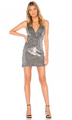 Мини платье Bardot. Цвет: металлический серебряный