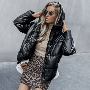 Утепленная куртка из искусственной кожи на кулиске SHEIN. Цвет: чёрный