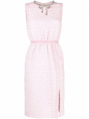 Платье с бантом из кристаллов Giambattista Valli. Цвет: розовый