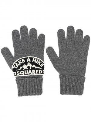 Перчатки с нашивкой-логотипом Dsquared2. Цвет: серый