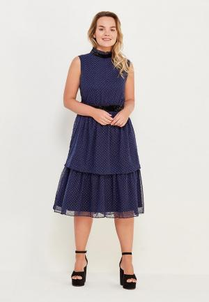 Платье LOST INK PLUS TIERED HEM DRESS IN METALLIC DOBBY. Цвет: синий