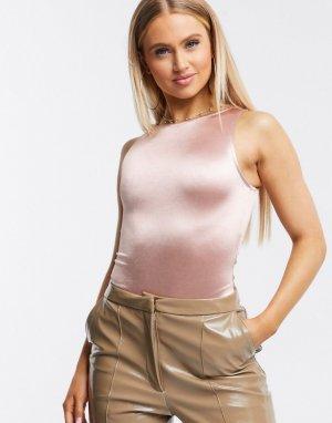 Розовое атласное боди со спинкой-борцовкой -Розовый ASOS DESIGN