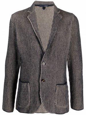 Однобортный пиджак в полоску Lardini. Цвет: синий