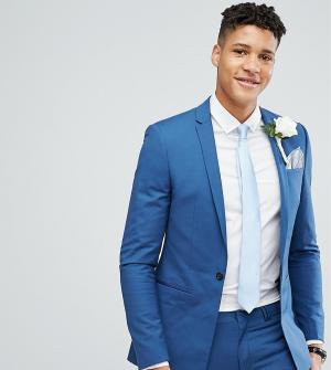 Синий супероблегающий пиджак с квадратными полами TALL Wedding Noak