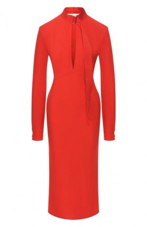 Платье-миди Victoria Beckham. Цвет: красный